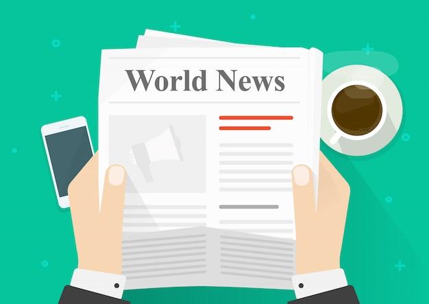 Płaskie kreskówka osoba czytanie wiadomości w gazecie, podczas gdy przerwa na kawę widok z góry