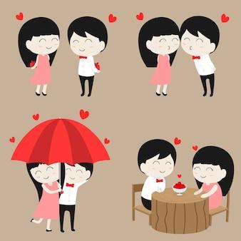 Płaskie kreskówka postać para miłość w zestaw kolekcja walentynki