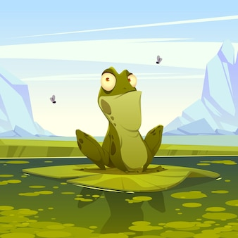 Płaskie kreskówka żaba ilustracja