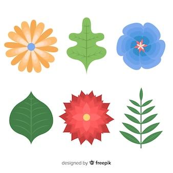 Płaskie kwiaty i liście