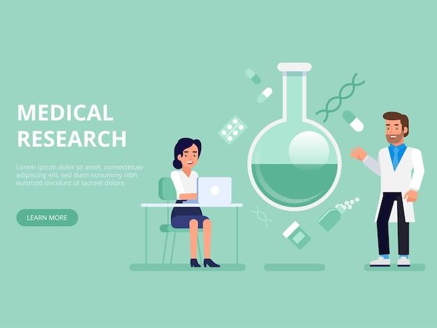 Płaskie laboratorium badania naukowe laboratorium naukowiec lekarz pielęgniarka koncepcja sieci web infografiki ilustracja. koncepcyjne profesjonalny medycyna opieki zdrowotnej.