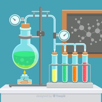 Płaskie laboratorium chemiczne z kolbami