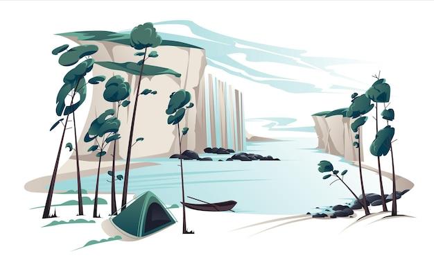 Płaskie lato krajobraz ilustracja z wodospadem, rzeką, górami, sosnami, namiotem i łodzią na błękitnym zachmurzonym niebie. widok natury.