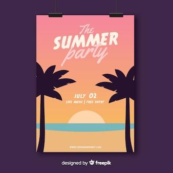 Płaskie lato party plakat szablon
