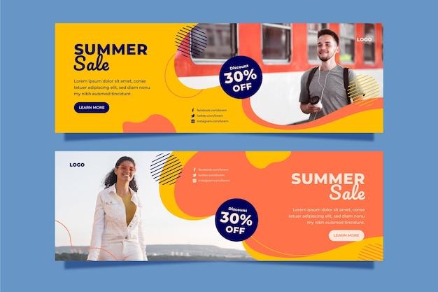 Płaskie lato sprzedaż szablon transparent ze zdjęciem