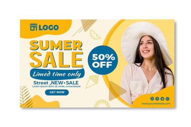 Płaskie lato sprzedaż szablon transparent
