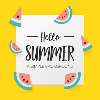 Płaskie lato tło z arbuzem