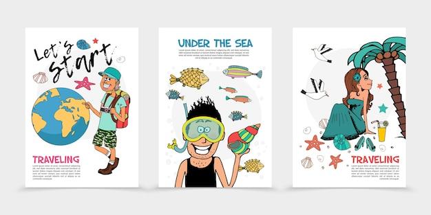 Płaskie letnie plakaty podróżnicze z podróżnikiem, kulą ziemską, nurkiem i ładną kobietą relaksującą na plaży