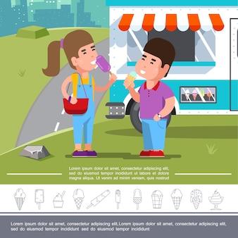 Płaskie lody lato z dziećmi jedzącymi lody w pobliżu ilustracji food truck