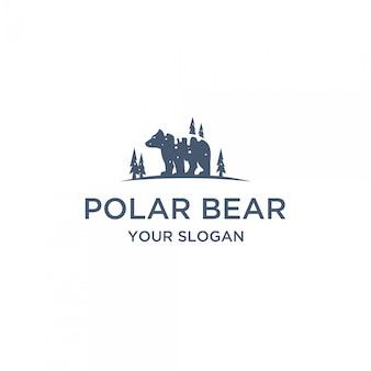 Płaskie logo niedźwiedzia polarnego
