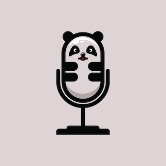 Płaskie logo panda podcast ilustracja