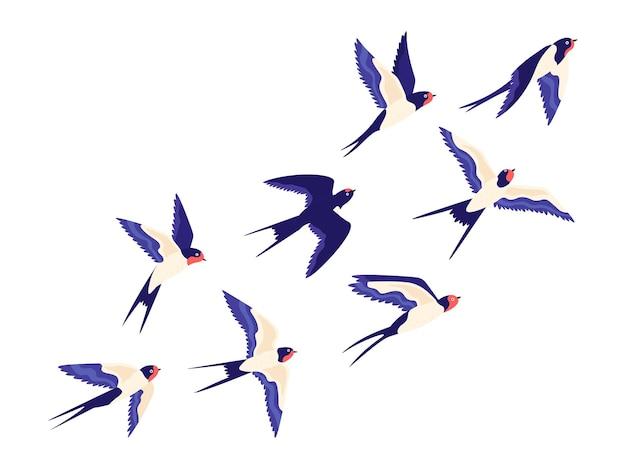 Płaskie małe stado ptaków jaskółka latające w powietrzu. kreskówka grupa stodoła połyka lot wolności w niebo. spokojna ilustracja wektorowa z ptakami