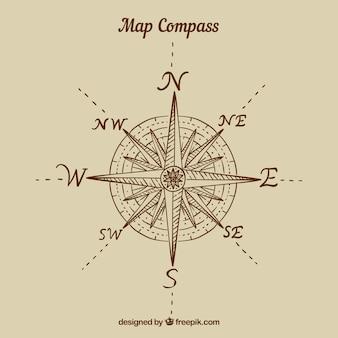 Płaskie mapę tło kompas