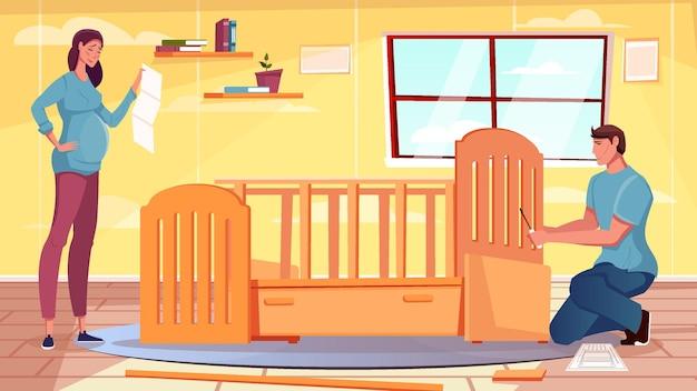 Płaskie meble z kobietą w ciąży i mężczyzną montującym łóżeczko dziecięce