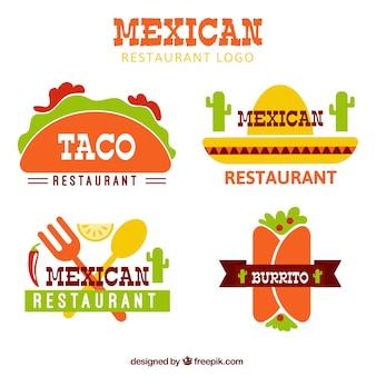 Płaskie meksykański logotypy żywności