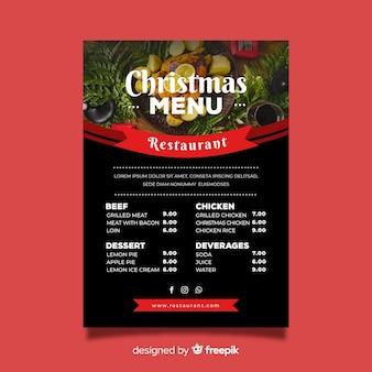 Płaskie menu świąteczne menu