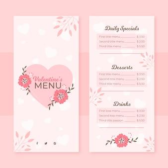 Płaskie menu szablon walentynki