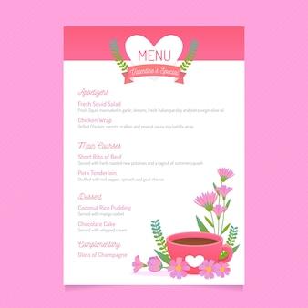 Płaskie menu walentynkowe z kwiatową filiżanką napoju
