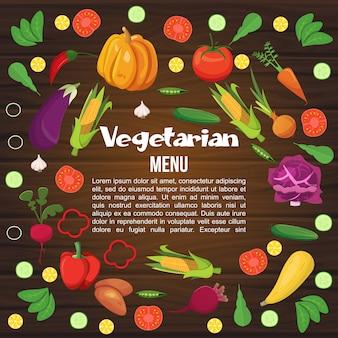 Płaskie menu warzyw