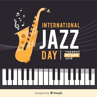 Płaskie międzynarodowe tło dzień jazzu