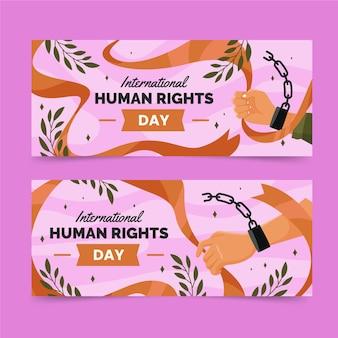 Płaskie międzynarodowego dnia praw człowieka poziome banery z skutymi łańcuszkami rękami