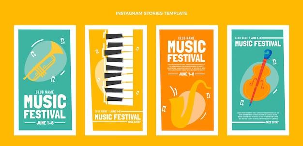 Płaskie minimalistyczne historie o festiwalu muzycznym na instagramie