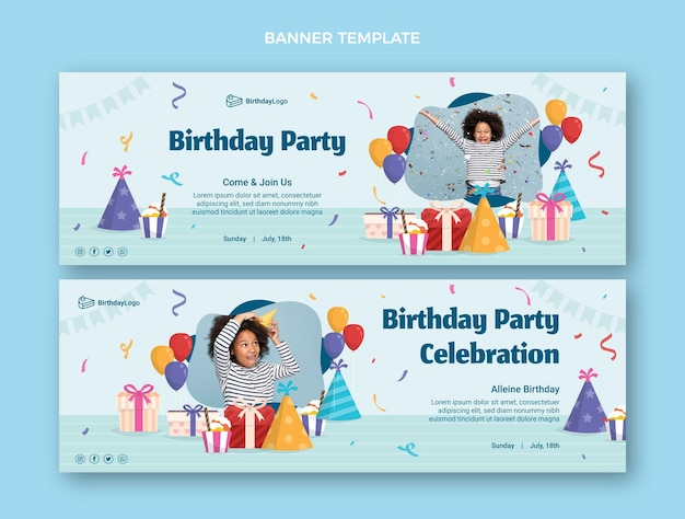 Płaskie minimalne banery urodzinowe poziome