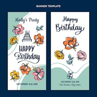 Płaskie minimalne banery urodzinowe w pionie