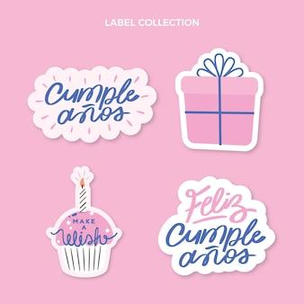 Płaskie minimalne etykiety urodzinowe