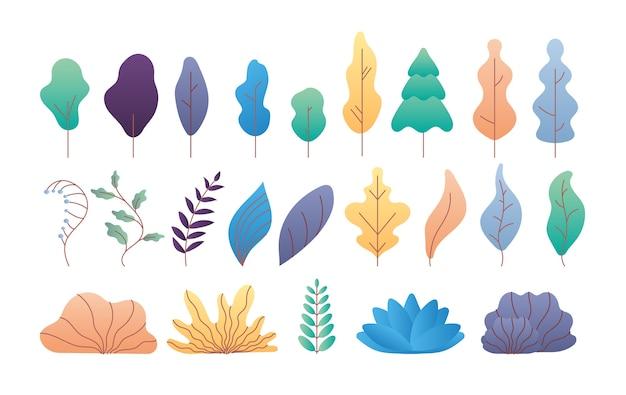 Płaskie minimalne liście. proste drzewa, gałęzie i krzewy liściaste i iglaste. modny zestaw płaskich roślin i liści tropikalnych. krzew i gałąź, natura drzewo kolorowy styl ilustracji