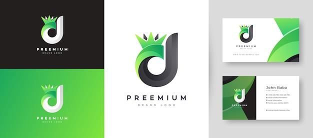 Płaskie minimalne początkowe logo litery d dd z szablonu projektu wizytówki premium dla twojej firmy
