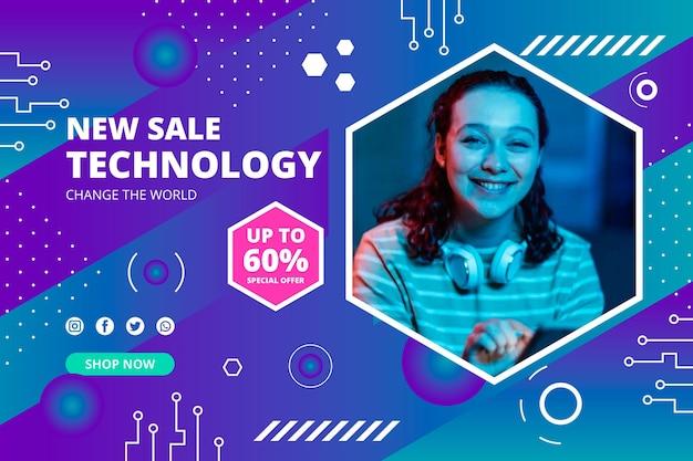 Płaskie minimalne tło sprzedaży technologii