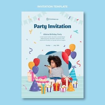 Płaskie minimalne zaproszenie na urodziny