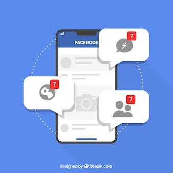 Płaskie mobilne z powiadomieniami na facebooku