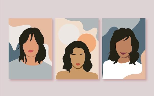 Płaskie modne portrety mody obejmuje kolekcję