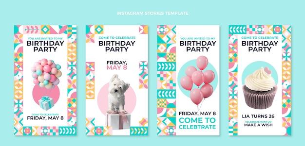 Płaskie mozaiki urodzinowe historie na instagramie