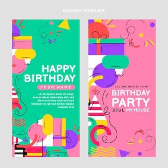 Płaskie mozaikowe banery urodzinowe pionowe