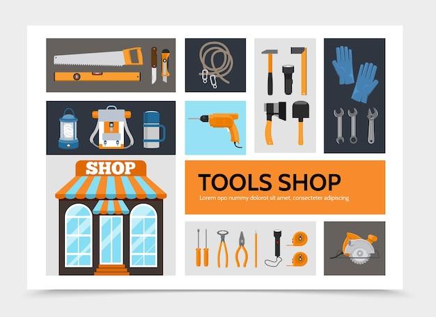 Płaskie narzędzia sklep plansza koncepcja