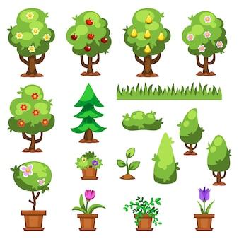 Płaskie natura ogród kwiaty rośliny wektor