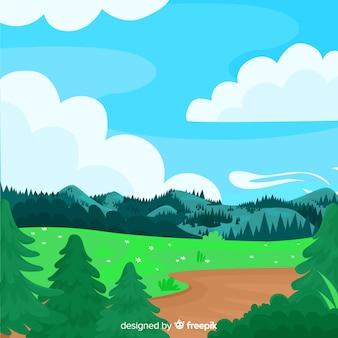 Płaskie naturalne tło z krajobrazem