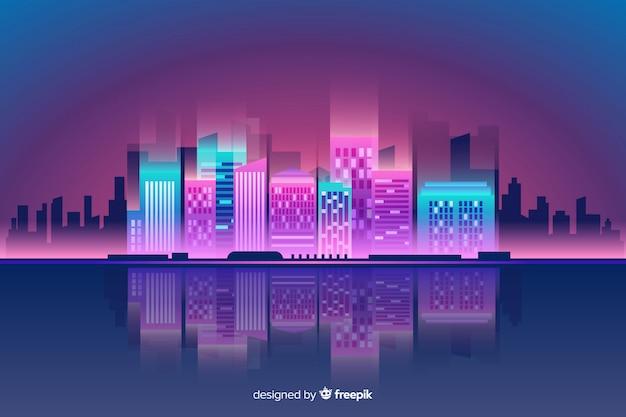 Płaskie neon miasto tło