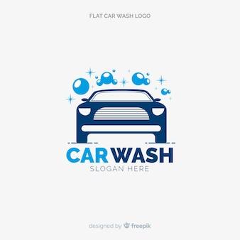 Płaskie niebieskie logo myjni samochodowej