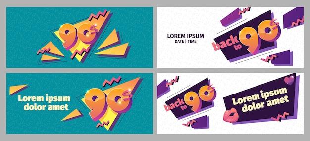 Płaskie nostalgiczne banery z lat 90.