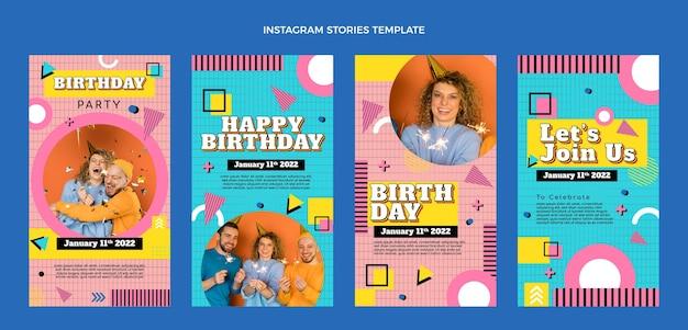 Płaskie nostalgiczne historie urodzinowe z lat 90. na instagramie