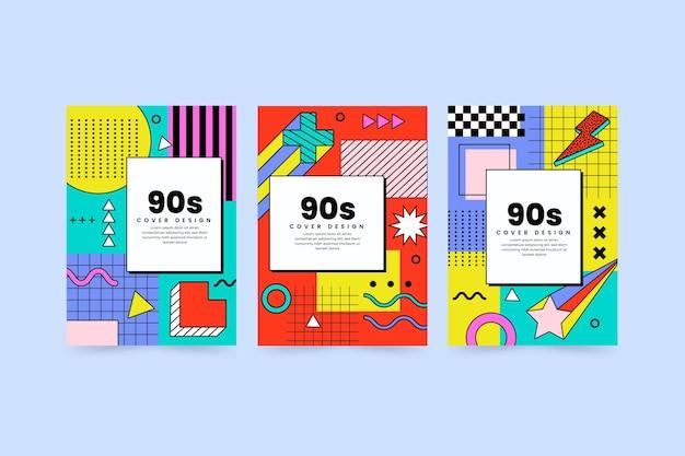 Płaskie nostalgiczne okładki z lat 90.