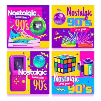 Płaskie nostalgiczne posty na instagramie z lat 90.