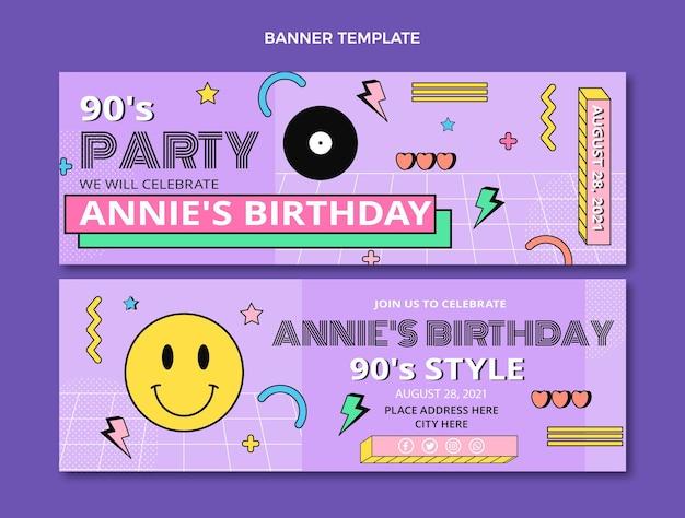Płaskie nostalgiczne poziome banery urodzinowe z lat 90.