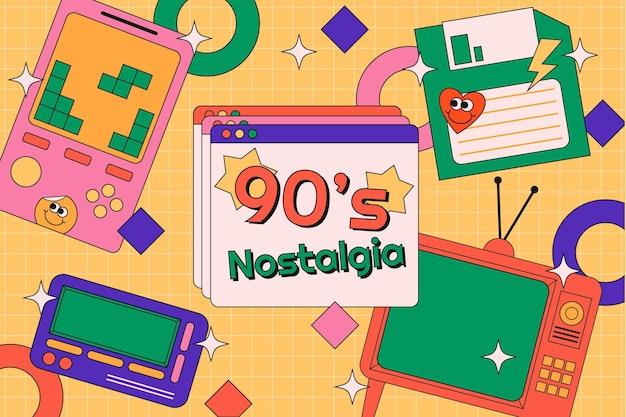 Płaskie nostalgiczne tło lat 90.