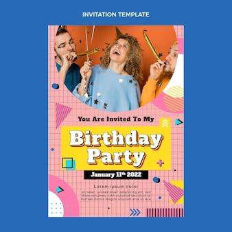 Płaskie nostalgiczne zaproszenie na urodziny z lat 90.