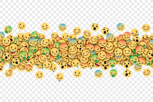 Płaskie nowoczesne facebook emoticons koncepcyjne streszczenie ilustracja